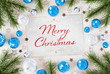 Christmas card greetings with blue baubles 3D rendering