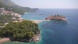 Aerial view on small island Sveti Stefan in Montenegro, Adriatic sea.