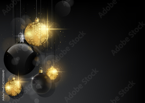 Dark Christmas Background with Black and Golden Baubles - Black Abstract Background with Bokeh Effect and Sparkling Effect, Vector Illustration