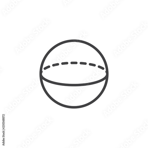 Sphere geometric figure outline icon. linear style sign for mobile concept and web design. Geometry sphere simple line vector icon. Symbol, logo illustration. Pixel perfect vector graphics