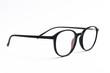 Eye round glasses on white background