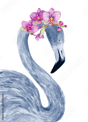 Watercolor flamingo with exotic flowers. Hand drawn illustration. - 230372636