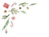 Christmas vector composition with green fir branches isolated on white background. - 230375696