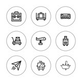 Collection of 9 outline airport icons