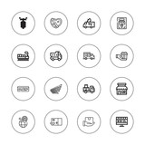 Collection of 16 outline delivery icons