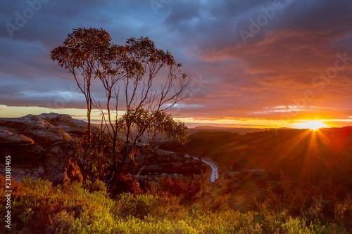 Mountain ridge sunset - 230381405