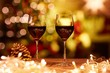 Christmas still life with glasses of red wine - 230383400