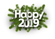 Happy 2019 background with fir branches and snowflakes.