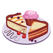 Pie and Cupcake with Cherries Vector Illustration
