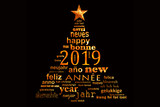2019 new year multilingual text word cloud greeting card in the shape of a christmas tree - 230389000