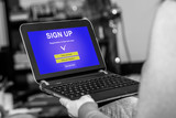 Sign up concept on a tablet - 230390214