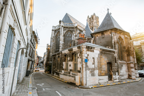 Backside of Saint-Godard church in Rouen, the capital of Normandy region in France - 230391426
