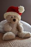 Ours en peluche avec bonnet du père Noël, ourson Saint-Nicolas, fête de Noël, bonne année - 230394227