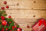 christmas gifts decoration on antique rustic wooden background; above view looking down with wood , top view with wood copy space - 230394857