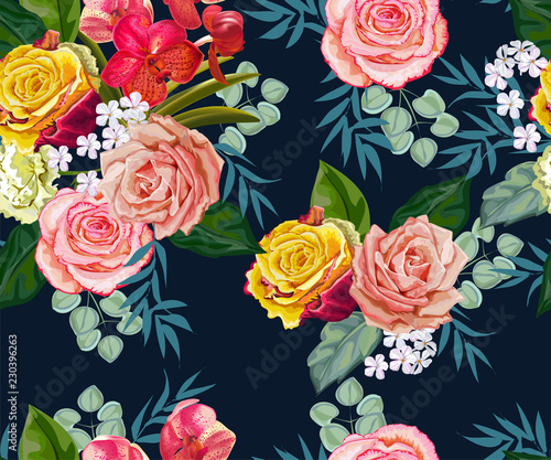 Flowers seamless pattern ,vector illustration © umsure