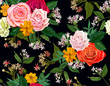 flower seamless pattern on black background - 230396863