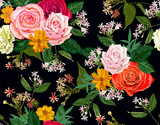 flower seamless pattern on black background © umsure
