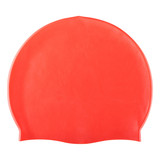 red rubber swimming cap, head and hair protection, on a white background, isolate - 230404400