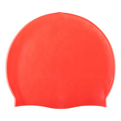 red rubber swimming cap, head and hair protection, on a white background, isolate