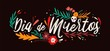 Dia De Muertos holiday lettering handwritten with elegant cursive calligraphic font and decorated by leaves and skull. Written inscription. Colored vector illustration for Day of The Dead celebration.