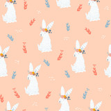 Seamless pattern with cute white bunny and flowers. Childish print. Vector hand drawn illustration. - 230407459