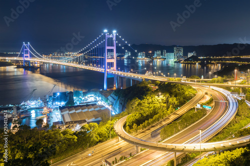 Tsing Ma Bridge in Hong Kong city at night - 230413474