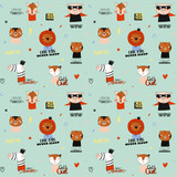 Super cute animal seamless pattern in vector. Trendy illustration with funny animals and cool typography. Color background. Scandinavian kids collection