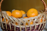 photographed close-up tangerines and walnuts