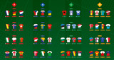 Football jersey with flag Collection, European soccer teams. Green football vector background. - 230420419