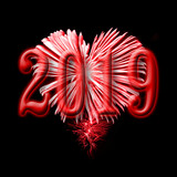 2016, red fireworks in the shape of a heart - 230422602
