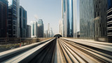 View from first railway carriage. Speed motion blur metro abstract background in the day - 230424488
