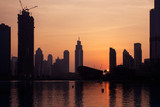 Beautiful view to Dubai city downtown in the sunset, UAE