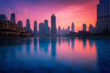 Beautiful view to Dubai city skyline downtown in the dusk, UAE