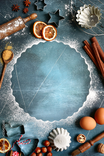 Leinwanddruck Bild Food background with ingredients and props for baking.Top view with copy space.