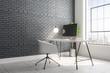 Leinwanddruck Bild - Contemporary brick interior with designer workplace
