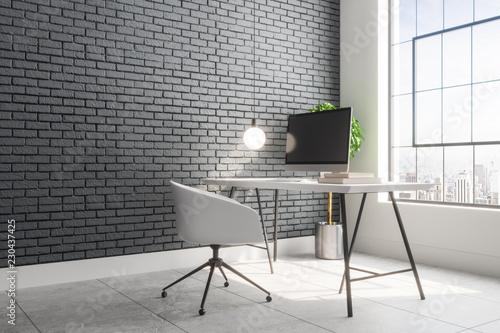 Leinwanddruck Bild Contemporary brick interior with designer workplace
