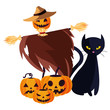 halloween scarecrow character icon