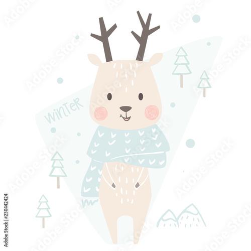 Deer baby winter print. Cute animal in warm scarf christmas card.