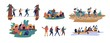 Collection of men and women travelling together. Set of friends or tourists riding bicycles, rafting on boat, walking along bridge, going camping. Colorful vector illustration in flat cartoon style.