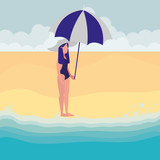 young woman with swimsuit and umbrella - 230452646