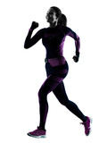 one young caucasian woman runner running jogger jogging isolated silhouette shadow on white background - 230456661