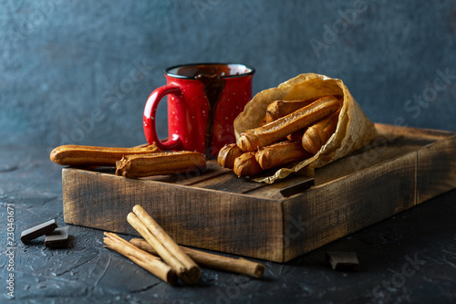 Traditional Spanish dessert churros.