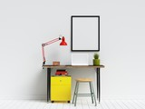 Creative Workspace with Poster Frame Mock Up - 230464232