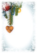 Christmas postcard. Background with ornaments for greeting card, wooden heart and love, space for text