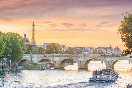 Sunset view of Paris skyline with Eiffel tower