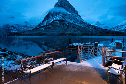 swiftcurrent lake after a snow storm predawn mt grinnell glacier