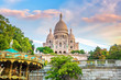 Sacre Coeur Cathedral on Montmartre Hill in Paris