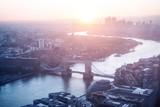 sunrise, London aerial view with Tower Bridge, UK - 230474055