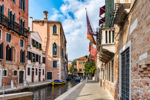 narrow canal in summer in venice - 230475803