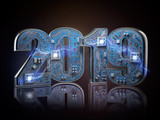 2019 on circuit board or motherboard with cpu. Computer technology and internet commucations digital concept. Happy new 2019 year. - 230476081